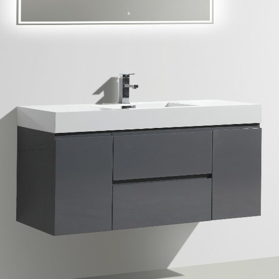 Leni 47 Wall-Mounted Single Bathroom Vanity Set by Orren Ellis