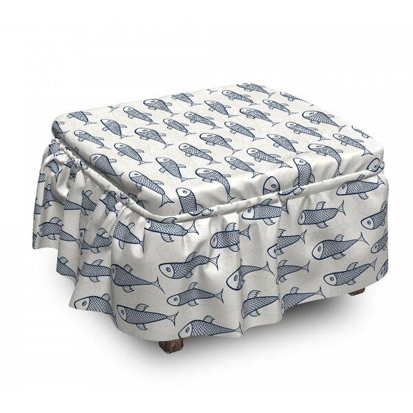 Fish Aquarium Doodle Scales 2 Piece Box Cushion Ottoman Slipcover Set By East Urban Home