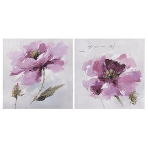 'Flower and Nature' 2 Piece Oil Painting Print Set on Canvas in Pink/Purple/Gray (Set of 2) by La Kasa, LLC