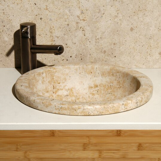 Sandstorm Stone Circular Drop-In Bathroom Sink by Allstone Group