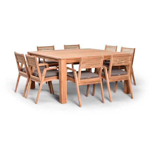 Link 9 Piece Teak Dining Set with Sunbrella Cushions (Set of 9) by Harmonia Living