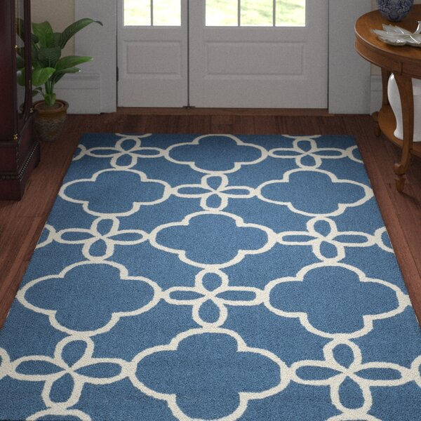 Hand-Hooked Navy/Ivory Area Rug by Three Posts