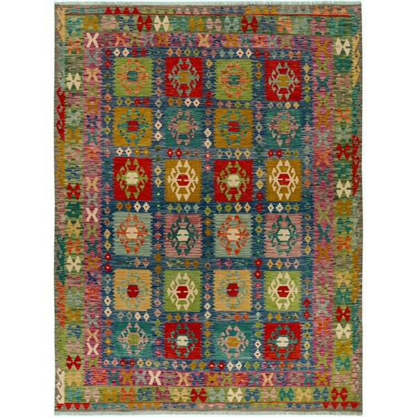 One-of-a-Kind Bakerstown Kilim Hand-Woven Wool Blue/Green Area Rug by Bloomsbury Market