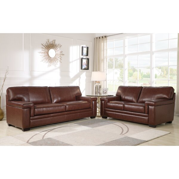 Cabott 2 Piece Leather Living Room Set by Three Posts