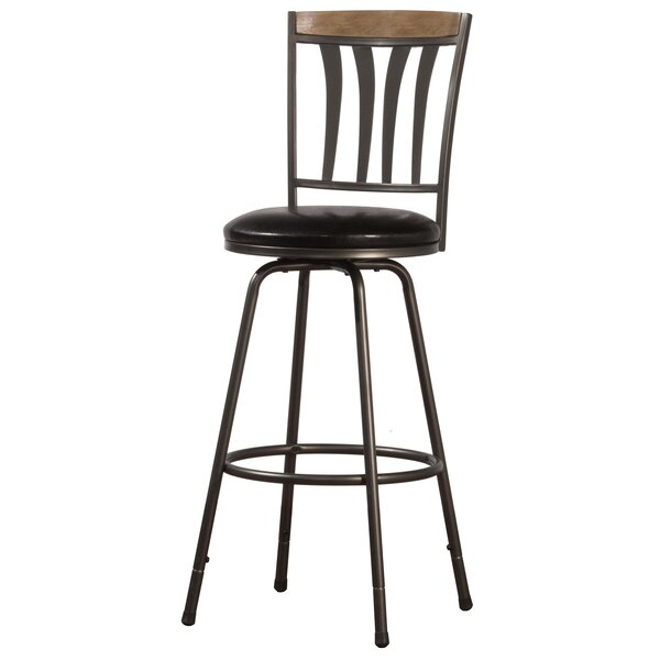 Leon Adjustable Height Swivel Bar Stool by Red Barrel Studio