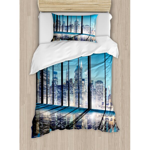 Modern Office Cityscape Buildings with Glassy Interior Room Photo Duvet Set by Ambesonne