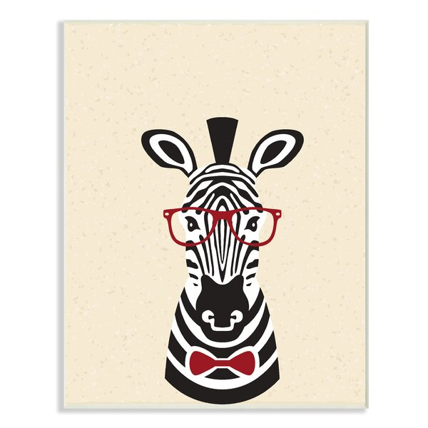 Hipster Zebra with Textured Background Oversized Graphic Art Print by Stupell Industries
