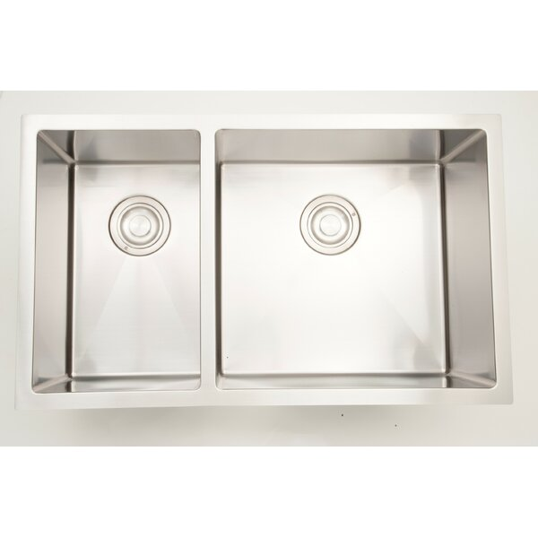 30 X 18 Double Basin Undermount Kitchen Sink with 18 Gauge