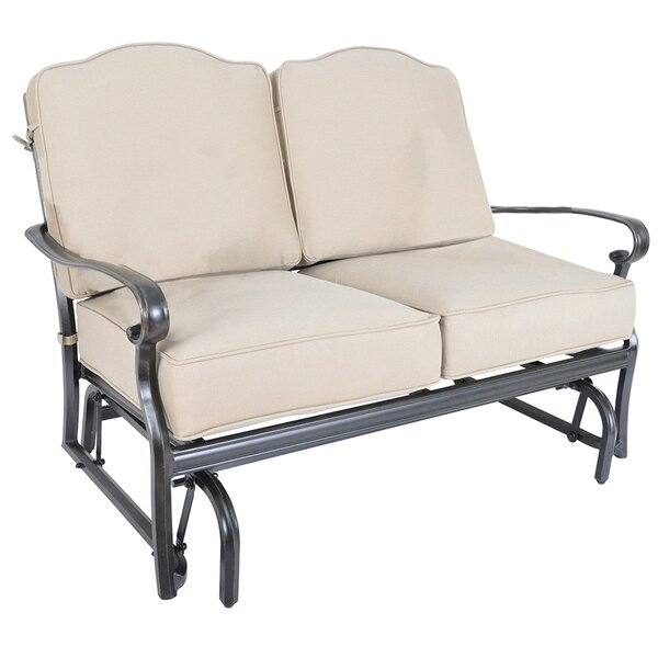 Reagan Glider Loveseat with Sunbrella Cushions by Alcott Hill