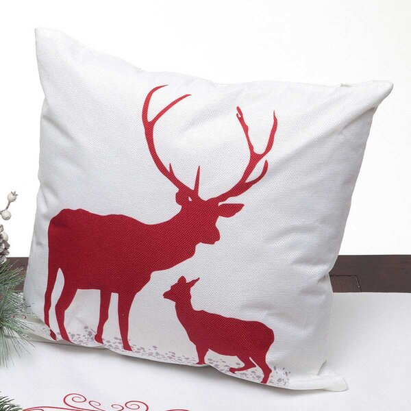 Kittie Decorative Stag And Fawn Throw Pillow by ZiaBella