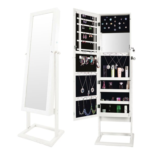 Northcrest Free Standing Jewelry Armoire with Mirror by Ebern Designs Ebern Designs