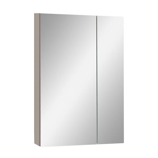 Zihlman Aluminum Recessed or Surface Mount Frameless 2 Door Medicine Cabinet with 3 Adjustable Shelves