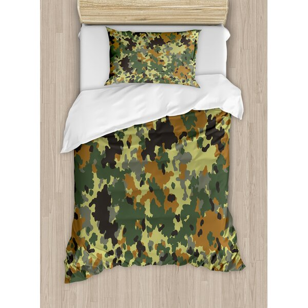 Camo Classical Germany Camouflage Pattern Forest Jungle Military Colors Duvet Set by Ambesonne