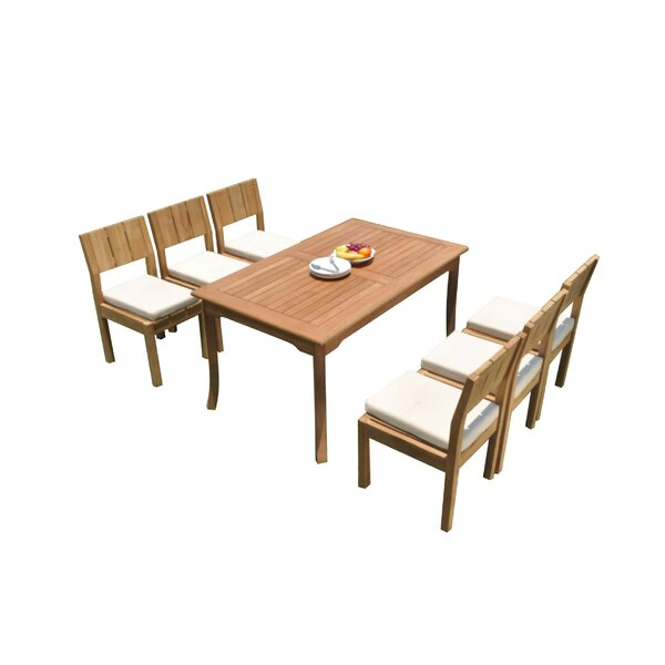 Oneman 7 Piece Teak Dining Set by Rosecliff Heights