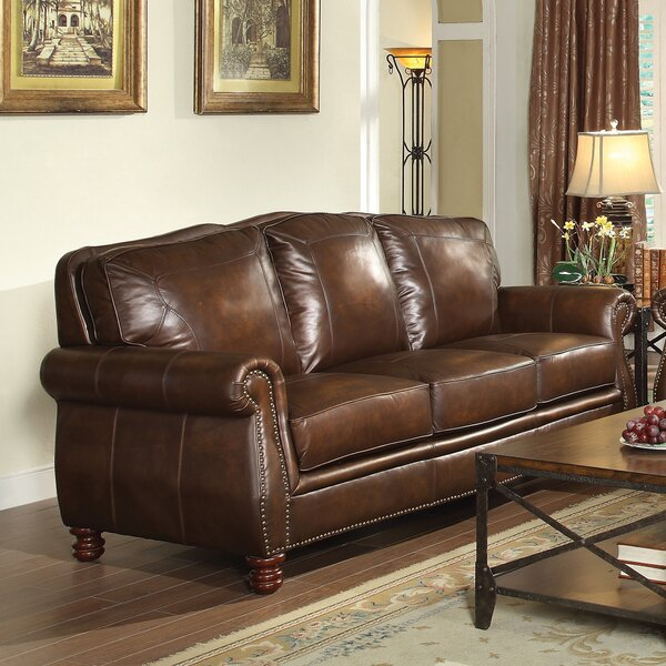 Modern Brand Linglestown Leather Sofa by Darby Home Co by Darby Home Co