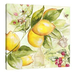 'Watercolor Lemon' by Tre Sorelle Studios Painting Print on Wrapped Canvas by Jaxson Rea