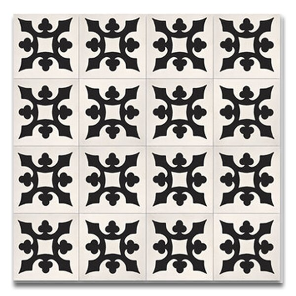 Tishka 8 x 8 Handmade Cement Tile  in Black/White by Moroccan Mosaic