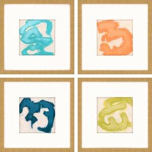 Gestural II by Vess 4 Piece Framed Painting Print Set