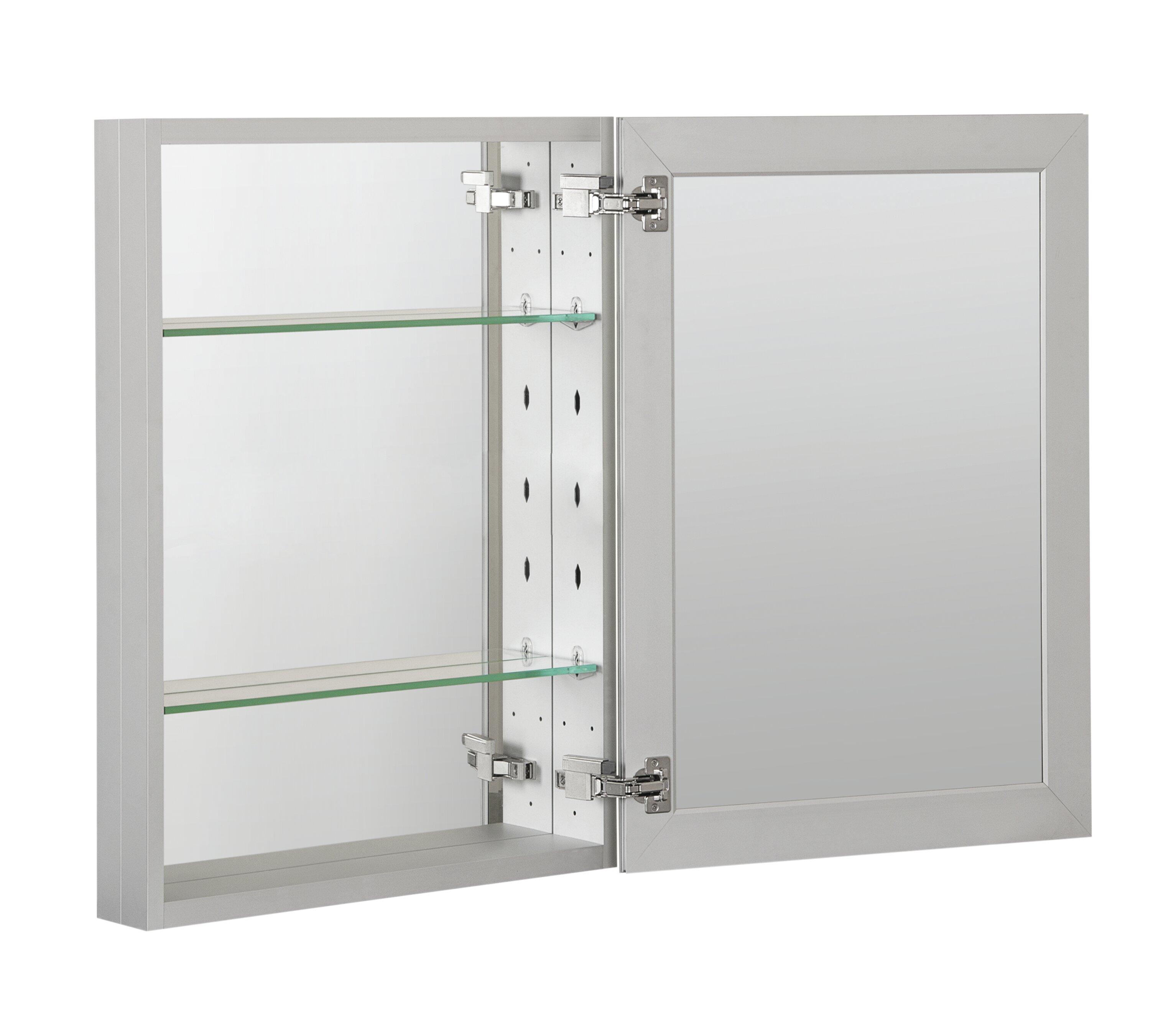 Ebern Designs Vladimir Recessed Or Surface Mount Frameless 1 Door Medicine Cabinet With 2 Adjustable Shelves Wayfair