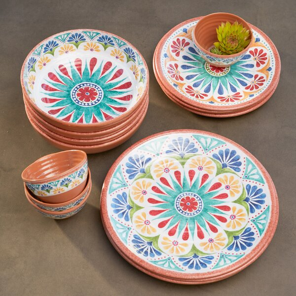 Adah 16 Piece Melamine Dinnerware Set, Service For 4 By Bungalow Rose
