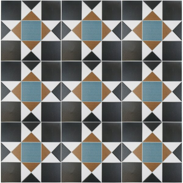 Narcisso Nouveau 13 x 13 Porcelain Tile in Black/Blue/Beige by EliteTile
