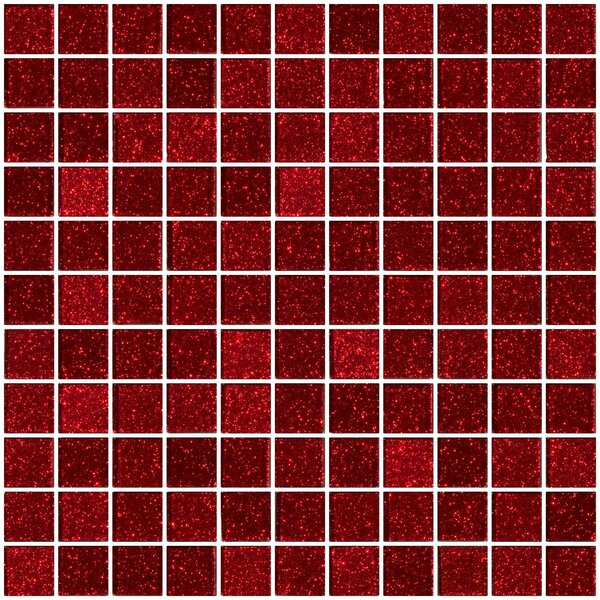 1 x 1 Glass Mosaic Tile in Glossy Red by Susan Jablon