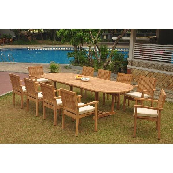 Kenyon 11 Piece Teak Dining Set by Rosecliff Heights
