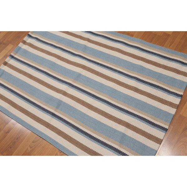 One-of-a-Kind Wick, Somerset Reversible Hand-Knotted Wool Blue/Beige Area Rug by Breakwater Bay
