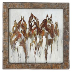 Equestrian In Browns and Golds Abstract Art Framed Print of Painting by Loon Peak