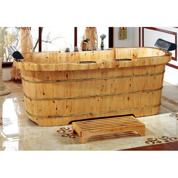 2 Person Cedar Wooden 65 x 30.75 Freestanding Soaking Bathtub by Alfi Brand