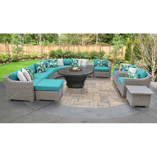 Claire 12 Piece Rattan Sectional Seating Group with Cushions by Rosecliff Heights