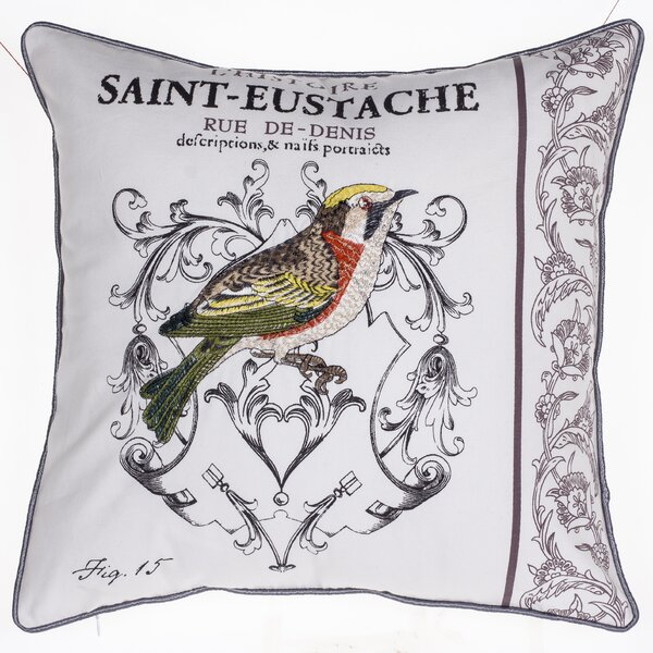 Magpie Embroidered Cotton Throw Pillow by 14 Karat Home Inc.