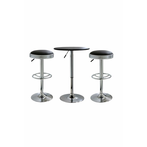 Impriano Classic Retro 3 Piece Adjustable Pub Table Set by Ebern Designs Ebern Designs