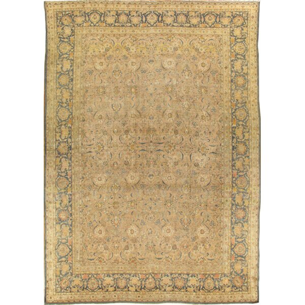 One-of-a-Kind Tabriz Hand-Knotted Brown 11'6 x 16'8 Wool Area Rug