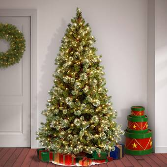 Christmas Tree White Lights.Snowy Frosted Green Fir Artificial Christmas Tree With Clear