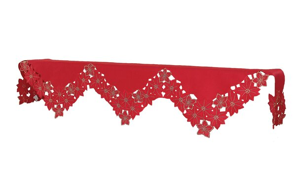 Festive Poinsettia Holiday Polyviscose Mantel Scarf by The Holiday Aisle