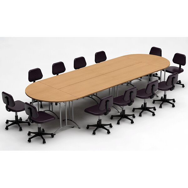 Meeting Seminar 6 Piece Racetrack/Oval 30H x 60W x 180L Conference Table Set by Team Tables