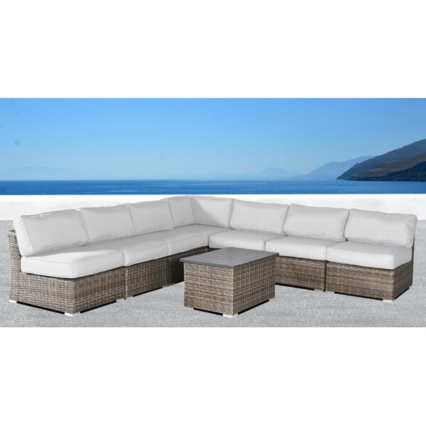 Creola 8 Piece Rattan Sunbrella Sectional Seating Group with Cushions by Sol 72 Outdoor
