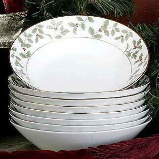 Holly and Berry Gold 12 oz. Soup Bowl (Set of 8) by Noritake