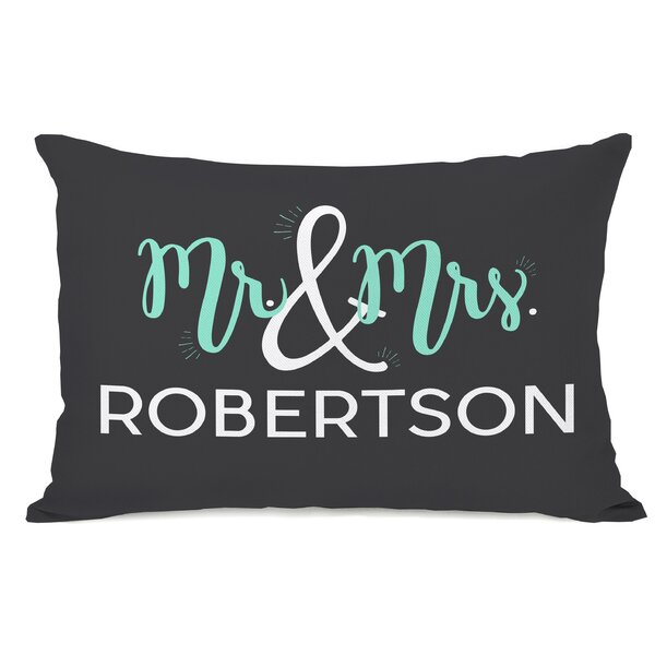 Personalized Mr & Mrs Lumbar Pillow by One Bella Casa