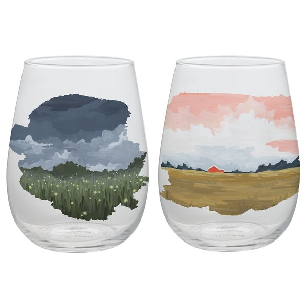 1canoe2 Twilight 2 Piece 18 oz. Every Day Glasses Set (Set of 2) by Vandor LLC