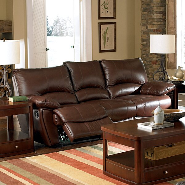 Great Sale Brown Bluff Leather Reclining Sofa by Wildon Home by Wildon Home�
