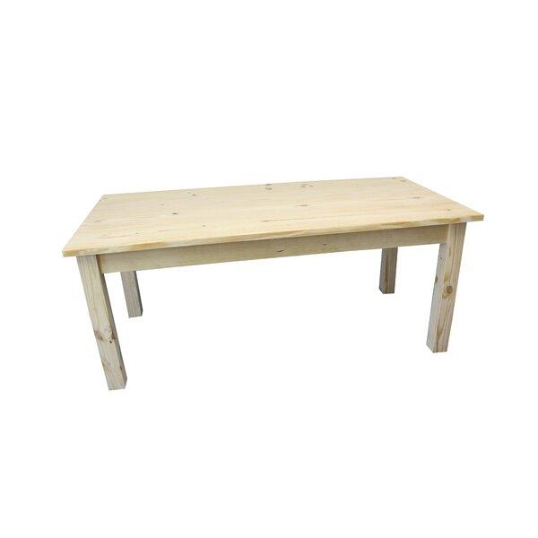 Dejardins Unfinished Solid Wood Dining Table by Loon Peak Loon Peak