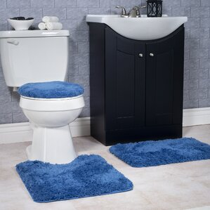 navy blue toilet seat cover. Non Slip 3 Piece Bath Rug Set Navy Blue Mat  Wayfair