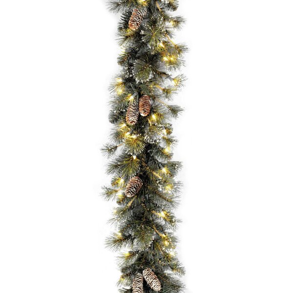 Pre-Lit Glitter Pine Garland by Three Posts