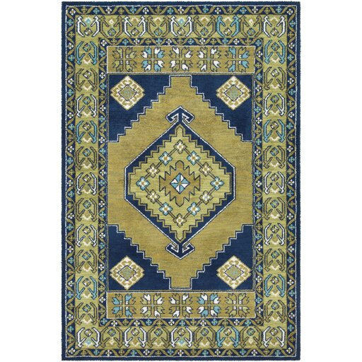 Robbins Lime/Navy Area Rug by Bloomsbury Market