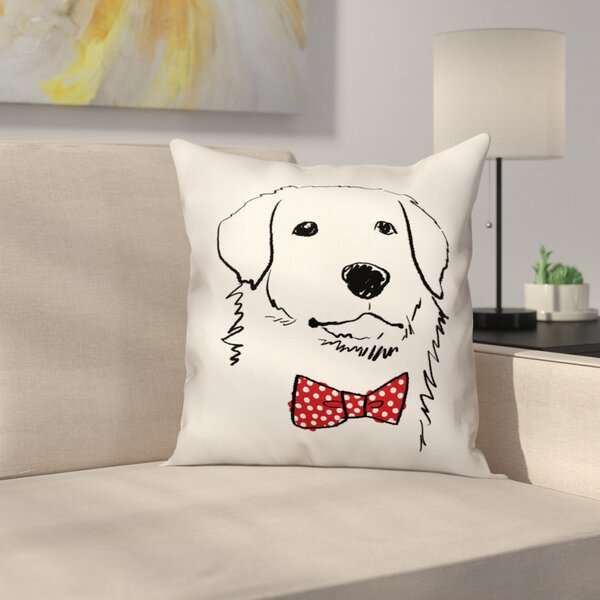 Penny Dog with Polka Dot Bow Tie Throw Pillow by Archie & Oscar