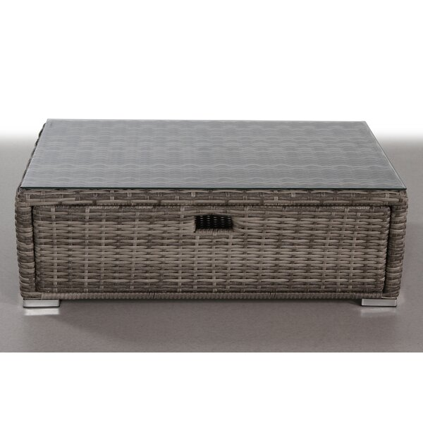 Crispin Wicker Coffee Table by Rosecliff Heights