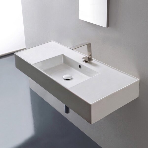 Ceramic 40 Wall Mounted Bathroom Sink with Overflow by Scarabeo by Nameeks