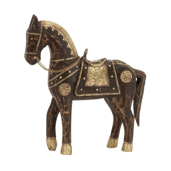Wood Brass Horse Figurine by Cole & Grey